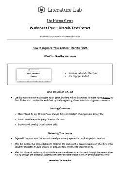 The Horror Genre - Dracula Text Extract Worksheet