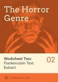 The Horror Genre - Frankenstein Text Extract Worksheet