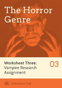 The Horror Genre - Vampire Research Assignment Worksheet