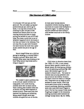 Progressive Era: The Horrors of Child Labor Reading and Questions
