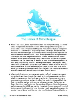 The Horses of Chincoteague - Literary Text Test Prep