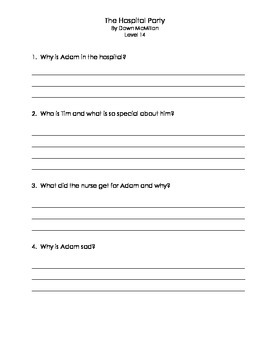 The Hospital Party, comprehension questions and answers