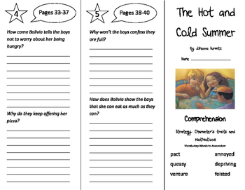 The Hot and Cold Summer Trifold - Storytown 4th Grade Unit