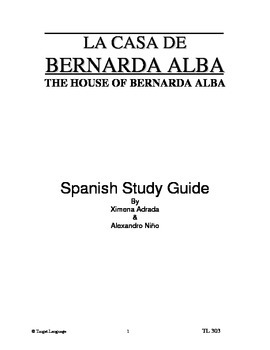 The House of Bernarda Alba-Spanish Study Guide