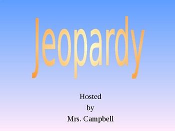The House of Dies Drear Jeopardy Game