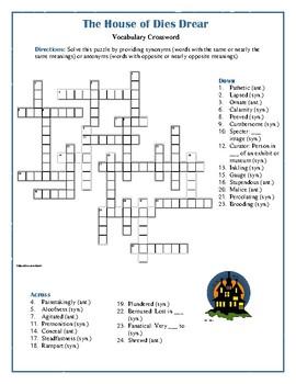 The House of Dies Drear: Synonym/Antonym Vocabulary Crossword