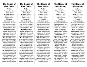 The House of Dies Drear ed. of Bookmarks Plus—Fun Freebie/Handy Reading Aid!