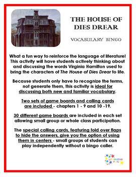 The House of Dies Drear vocabulary Bingo