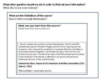 The House of Un-American Activities Committee (HUAC) Source Analysis Activity