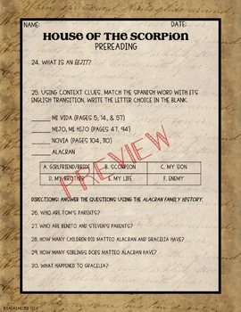 The House of the Scorpion Pre-Read Activity