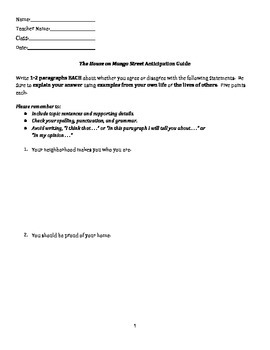 The House on Mango Street Anticipation Guide (Worksheet Version)
