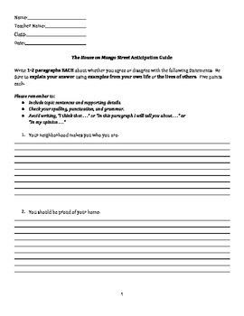 The House on Mango Street Anticipation Guide (Worksheet Version with lines)