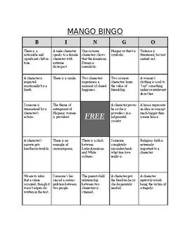 The House on Mango Street BINGO game (encouraging critical thinking)