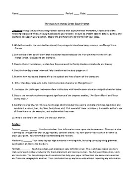The House on Mango Street Essay Prompts and Rubric