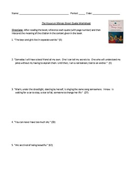 The House on Mango Street Quote Interpretation Worksheet with Answer Key