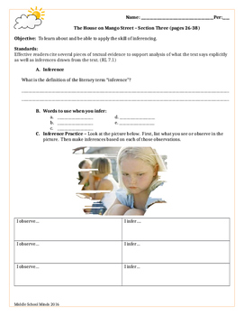 House on Mango Street - Section Three Guided Reading