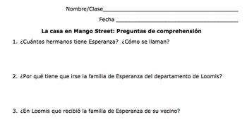 The House on Mango Street Spanish Reading Activity