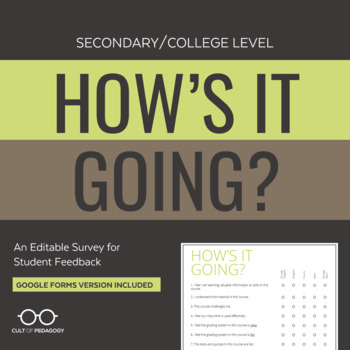 "The ""How's It Going?"" Form: Secondary/College Level"