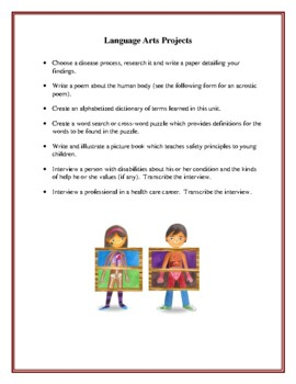 The Human Body Cross-Curriculum Unit, Activities and Worksheets