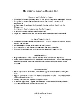 The Human Endocrine and Reproduction Systems - Biology Notes and Handout