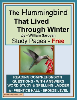 The Hummingbird That Lived Through Winter Study Pages Freebie