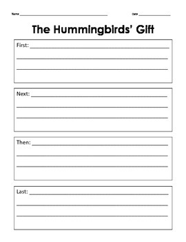 The Hummingbirds' Gift Graphic Organizers FREEBIE