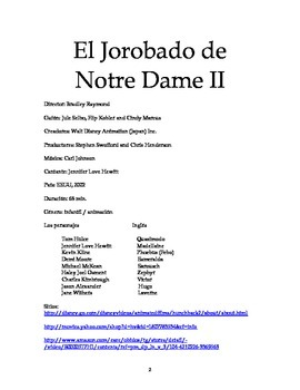 The Hunchback of Notre Dame 2 Spanish Study Guide