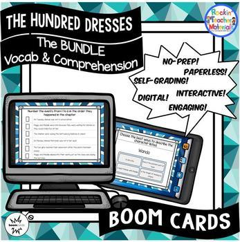 The Hundred Dresses-BUNDLE chapters 1-7 Vocabulary & Comprehension - BOOM Cards