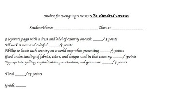The Hundred Dresses / Bullying Projects - 4 choices with rubrics