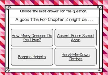 The Hundred Dresses-Chapter 2 Vocabulary & Comprehension - BOOM Cards
