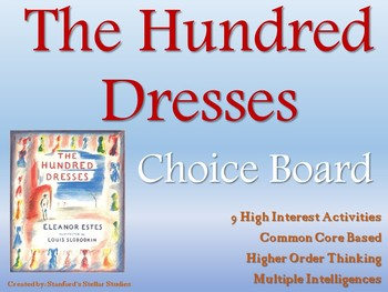 The Hundred Dresses Choice Board Novel Study Activities Menu Book Project
