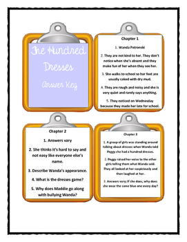 THE HUNDRED DRESSES by Eleanor Estes - Discussion Cards