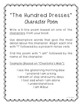 The Hundred Dresses Novel Unit Study Activities, Book Companion Worksheets