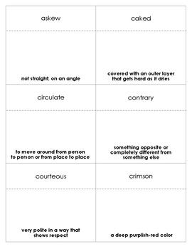 The Hundred Dresses Vocabulary Bingo