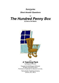 The Hundred Penny Box     Summaries and Short Answer Questions
