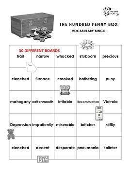 The Hundred Penny Box Vocabulary Bingo