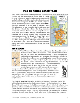 The Hundred Years' War: Reading, Worksheet, and Fun Comic Activity