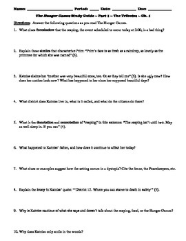 The Hunger Games 21-Page Study Guide