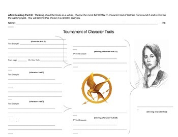 The Hunger Games: Characterization w/Evidence (Tournament Bracket)