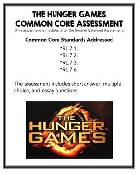 The Hunger Games Common Core Assessment - RL.7.1, RL.7.2, RL.7.3, & RL.7.6.