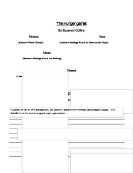 The Hunger Games: Diction, Tone, Mood, Theme, Author's Purpose