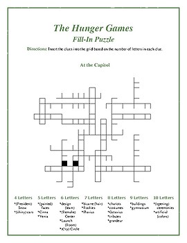 "The Hunger Games: ""At the Capitol"" Fill-In Puzzle—Fun Downtime Activity!"