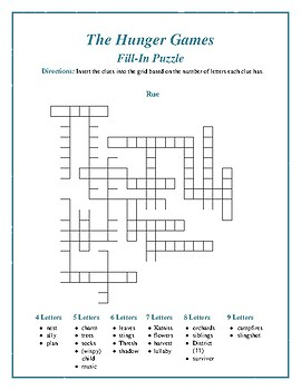 """The Hunger Games: """"Rue"""" Fill-In Puzzle—Fun Downtime Activity!"""