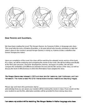 The Hunger Games Film Permission Slip