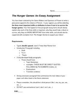 The Hunger Games Five Paragraph Essay By Keys For Your Classroom The Hunger Games Five Paragraph Essay