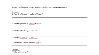 The Hunger Games- Guided Reading Questions