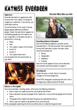 The Hunger Games Katniss Character Worksheet by Christy NZ ...