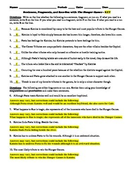 The Hunger Games Mini-Lesson on Sentences, Fragments, and Run-ons