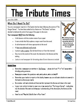 Hunger Games - Newspaper Project (Also for Catching Fire / Mockingjay)
