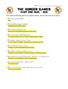The Hunger Games - Part 1 Quiz by Katie Benassi | TpT